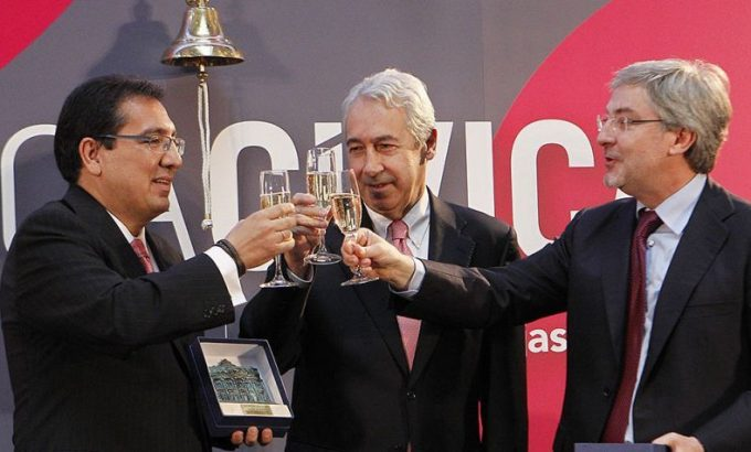 <em>El 21 de julio de 2011 suena la campana en el parqué español porque se estrena Banca Cívica. EFE/Mondelo</em>