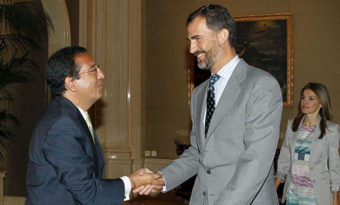 <em>Pulido como presidente de la Asociación de Fundaciones Andaluzas, recibido en La Zarzuela en septiembre de 2009 por los entonces Príncipes de Asturias.   EFE</em>