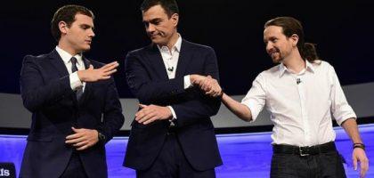 Albert Rivera (Ciudadanos), Pedro Sánchez (PSOE) y Pablo Iglesias (Podemos).
