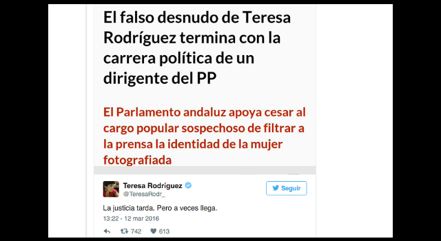Y El Pp Se Tragó El Falso Desnudo De Teresa Rodríguez Confidencial