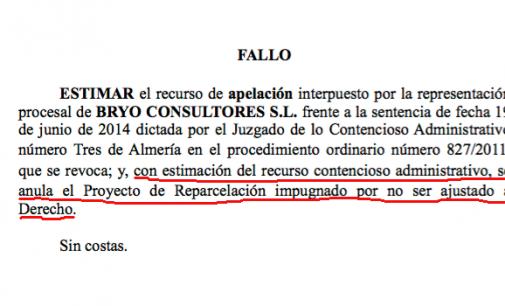 El TSJA anula la Reparcelación que afecta al proyecto Bogaris en Almería