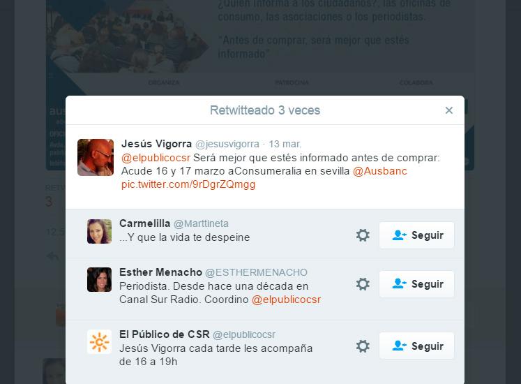 La cuenta de Twitter del programa de Jesús Vigorra también se usó para promocionar un evento de Ausbanc.