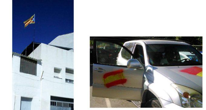 Cuelga la estelada y le pintan la bandera de España en el coche